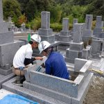 益田市の霊園にてお墓の移転工事です!